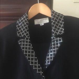 St. John evening black & silver knit pant suit